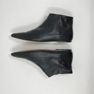 Zara Basics Leather Flat Ankle Booties Boots  